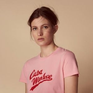 Sandro Paris Cuba With Love Graphic Tee In Pink